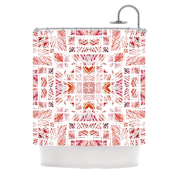 KESS InHouse Danii Pollehn Scandanavian Square Pink Red Shower Curtain (69x70)