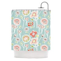 KESS InHouse Gill Eggleston Folky Floral Light Jade Blue Teal Shower Curtain (69x70)