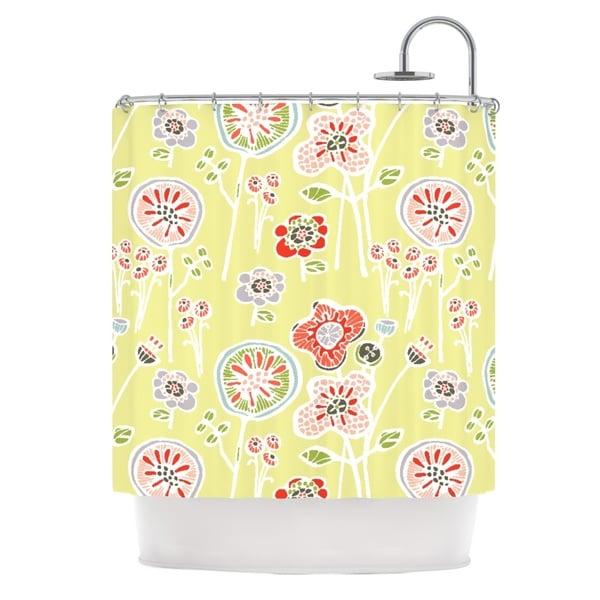KESS InHouse Gill Eggleston Folky Floral Lemon Green Yellow Shower Curtain (69x70)