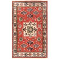 Handmade Herat Oriental Afghan Vegetable Dye Tribal Kazak Wool Rug (Afghanistan) - 3'10 x 6'2