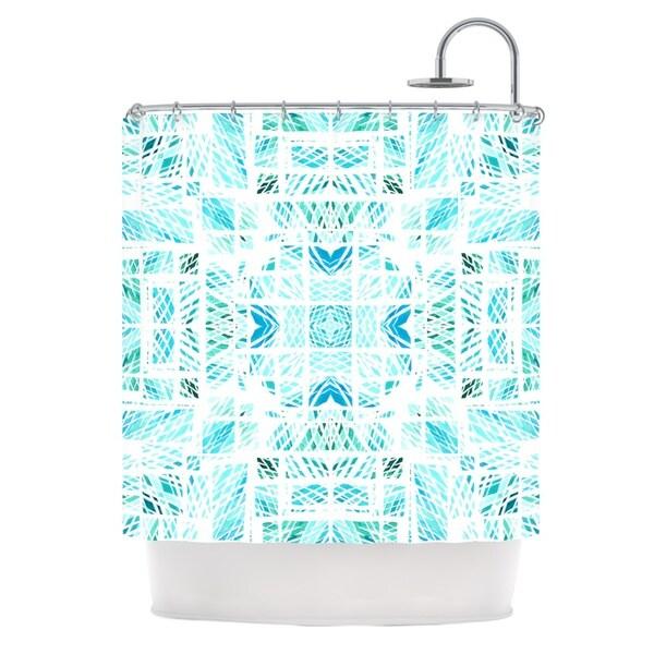 KESS InHouse Danii Pollehn Scandanavian Square Blue Teal Shower Curtain (69x70)
