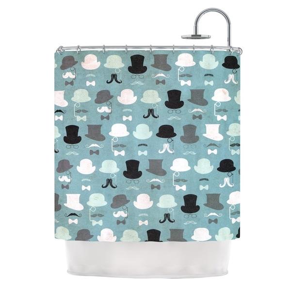 KESS InHouse Heidi Jennings Hats Off To You Blue Gray Shower Curtain (69x70)