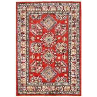 Herat Oriental Afghan Hand-knotted Vegetable Dye Tribal Kazak Wool Rug (4' x 5'9)