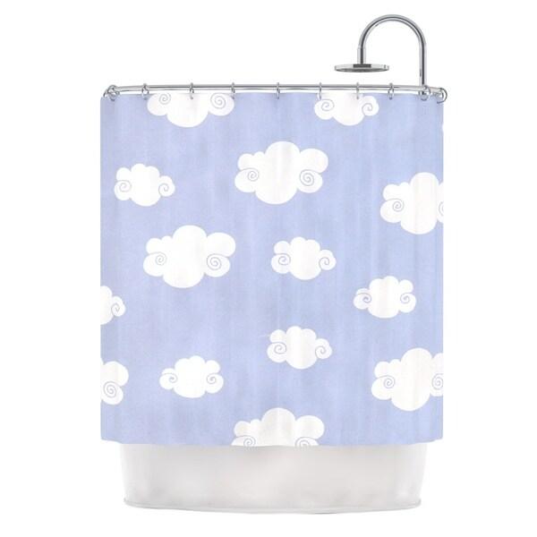KESS InHouse Heidi Jennings Happy Clouds White Blue Shower Curtain (69x70)