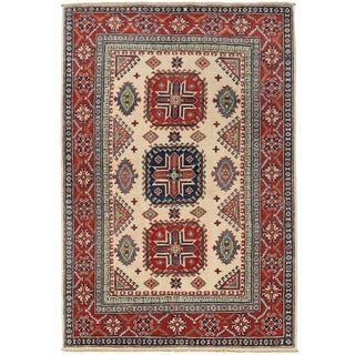 Herat Oriental Afghan Hand-knotted Vegetable Dye Tribal Kazak Wool Rug (3'11 x 5'8)