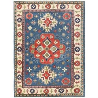 Herat Oriental Afghan Hand-knotted Vegetable Dye Tribal Kazak Wool Rug (4'10 x 6'8)