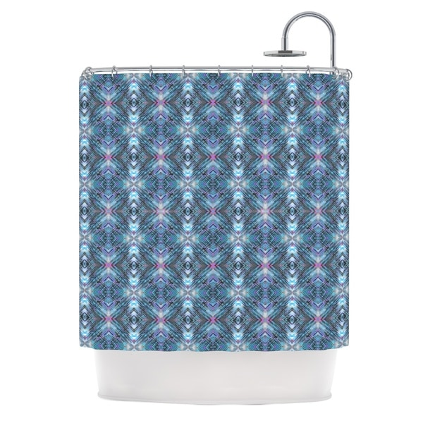 "KESS InHouse Danii Pollehn ""Native Pattern"" Blue Geometric Shower Curtain (69x70) - 69 x 70"