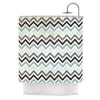KESS InHouse Heidi Jennings Blue Chevron Gray Aqua Shower Curtain (69x70)