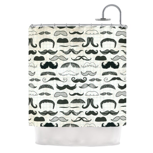 KESS InHouse Heidi Jennings Stached Gray Black Shower Curtain (69x70)