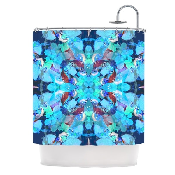KESS InHouse Danii Pollehn The Moon and A Fox Aqua Blue Shower Curtain (69x70)