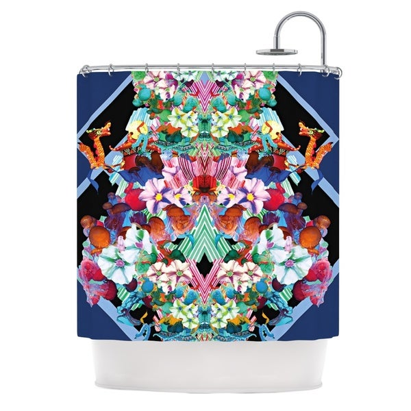 KESS InHouse Danii Pollehn Herz Blue Floral Shower Curtain (69x70)