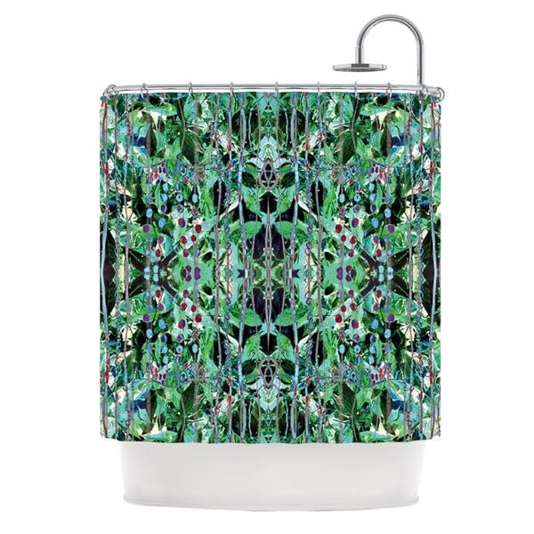 KESS InHouse Danii Pollehn Grun Green Abstract Shower Curtain (69x70)