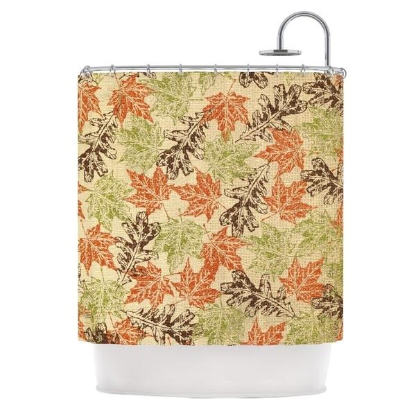 KESS InHouse Heidi Jennings Leaf it to Me Green Brown Shower Curtain (69x70)