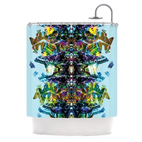KESS InHouse Danii Pollehn Butterfly Blue Rainbow Shower Curtain (69x70)