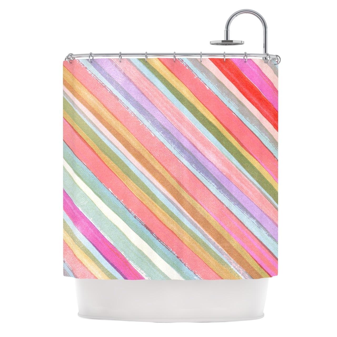 Kess Inhouse Heidi Jennings Pastel Stripes Pink Multicolor Shower Curtain 69x70 Multi 69 X 70