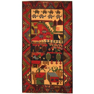 Herat Oriental Afghan Hand-knotted Tribal Balouchi Wool Rug (3'8 x 6'10)