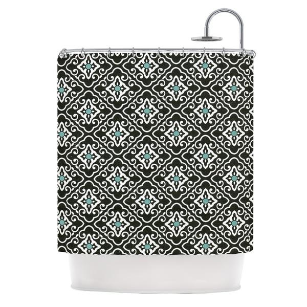 KESS InHouse Heidi Jennings Black Blue Geometric White Shower Curtain (69x70)