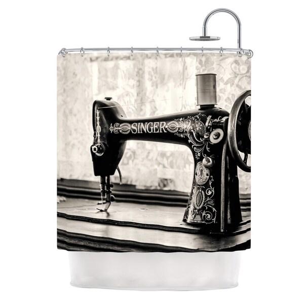 KESS InHouse Debbra Obertanec Vintage Home Black Gray Shower Curtain (69x70)