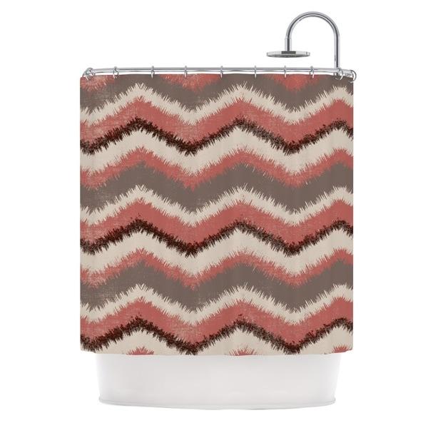 KESS InHouse Heidi Jennings Fuzzy Chevron Red Brown Shower Curtain (69x70)
