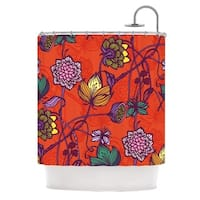 KESS InHouse Gill Eggleston Garden Blooms Hot Orange Red Floral Shower Curtain (69x70)
