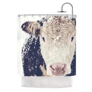 "KESS InHouse Debbra Obertanec ""Snowy Cow"" Black White Shower Curtain (69x70)"