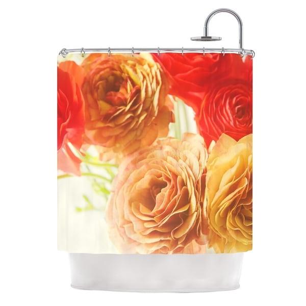 Orange Floral Shower Curtain Westport Floral Shower CurtainBest