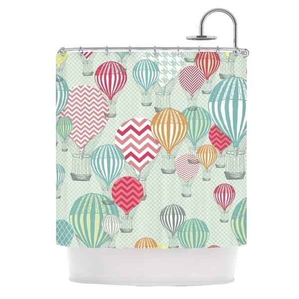 KESS InHouse Heidi Jennings Hot Air Baloons Teal Multicolor Shower Curtain (69x70)