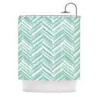 "KESS InHouse Heidi Jennings ""Painted Chevron"" Teal Green Shower Curtain (69x70) - 69 x 70"