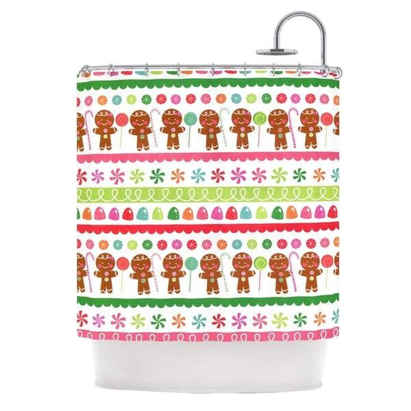 KESS InHouse Heidi Jennings Gumdrop Buttons Gingerbread Shower Curtain (69x70)