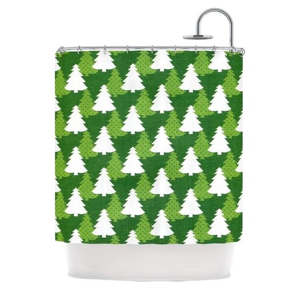 KESS InHouse Heidi Jennings Pine Forest Green White Shower Curtain (69x70)