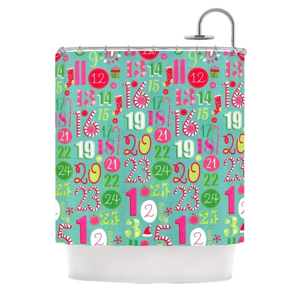 KESS InHouse Heidi Jennings Merry Countdown Green Pink Shower Curtain (69x70)