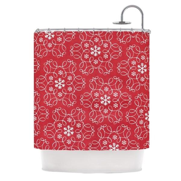 KESS InHouse Heidi Jennings Christmas Spirit Red Shower Curtain (69x70)
