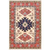Herat Oriental Afghan Hand-knotted Vegetable Dye Kazak Wool Rug (2'7 x 3'11)