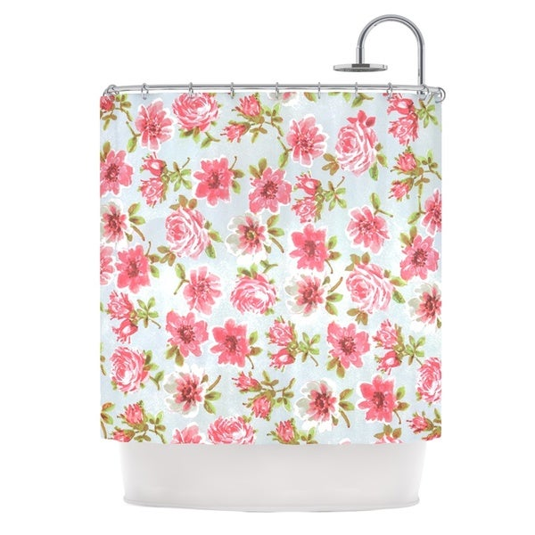 KESS InHouse Heidi Jennings Petals Forever Blue Pink Shower Curtain (69x70)
