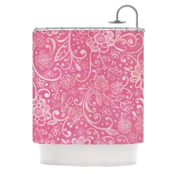 KESS InHouse Heidi Jennings Too Much Pink Magenta Floral Shower Curtain (69x70)