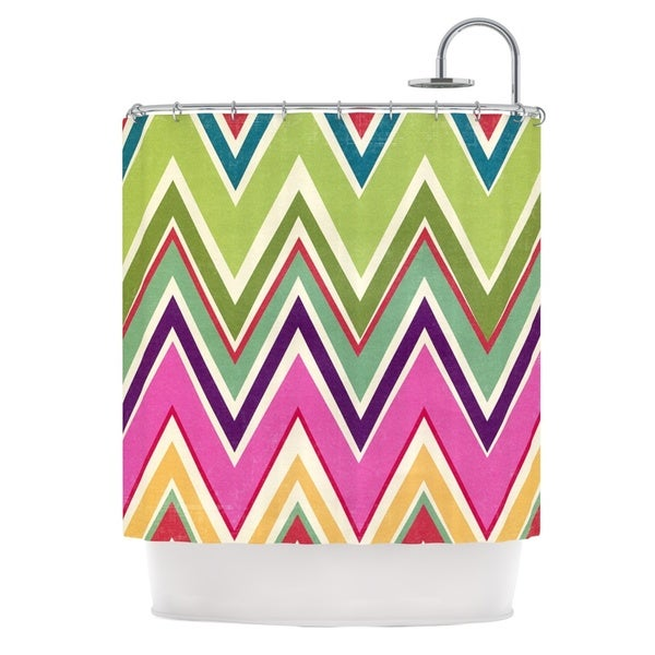 KESS InHouse Heidi Jennings Clash Of Color Rainbow Chevron Shower Curtain (69x70)