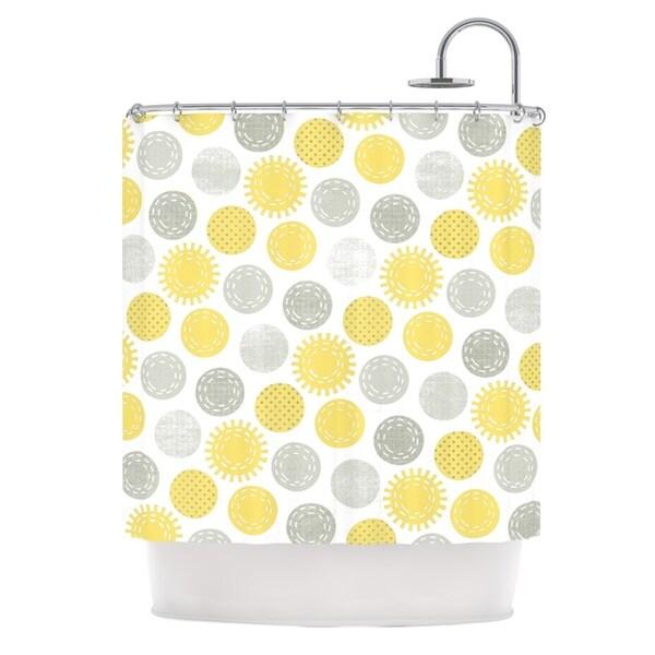 KESS InHouse Heidi Jennings Sunspot Yellow Spots Shower Curtain (69x70)
