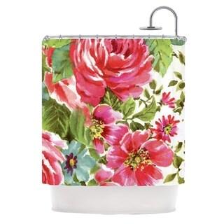 "KESS InHouse Heidi Jennings ""Walk Through The Garden"" Pink Flowers Shower Curtain (69x70)"