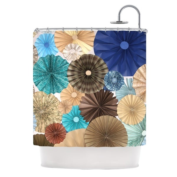 KESS InHouse Heidi Jennings Day At The Beach Tan Aqua Shower Curtain (69x70)