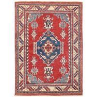 Herat Oriental Afghan Hand-knotted Vegetable Dye Tribal Kazak Wool Rug (3'4 x 4'9)