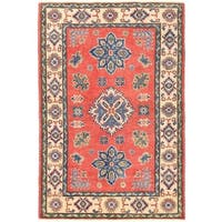 Herat Oriental Afghan Hand-knotted Vegetable Dye Tribal Kazak Wool Rug (3'4 x 4'11)
