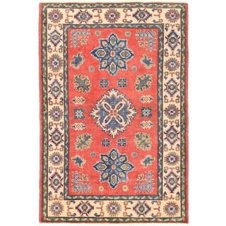 Herat Oriental Afghan Hand-knotted Vegetable Dye Tribal Kazak Wool Rug (3'4 x 4'11)