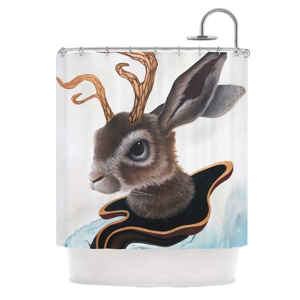 KESS InHouse Graham Curran Lucid Jack Brown Rabbit Shower Curtain (69x70)