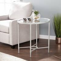 Harper Blvd Quaker Metal/Glass Oval Side Table - Silver