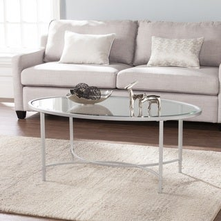Harper Blvd Quaker Metal/Glass Oval Cocktail Table - Silver