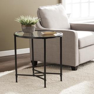 Harper Blvd Quaker Metal/Glass Oval Side Table - Black