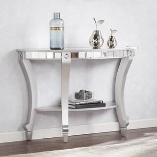 Silver Orchid Olivia Glam Mirrored Demilune Console Table - Matte Silver