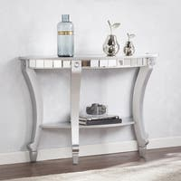 Silver Orchid Olivia Glam Mirrored Demilune Console Table - Matte Silver