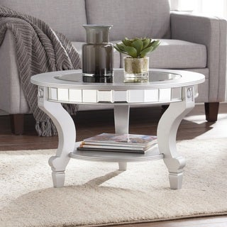 Harper Blvd Lindberg Glam Mirrored Round Cocktail Table - Matte Silver