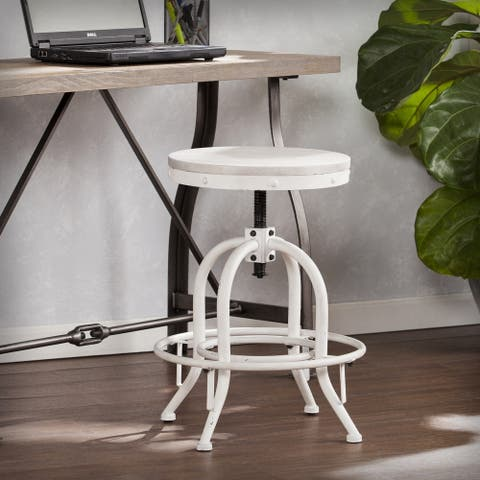 Carbon Loft Horstmann Industrial White Adjustable Swiveling Stool